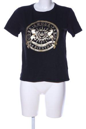 H&M Print-Shirt schwarz-goldfarben Motivdruck Casual-Look