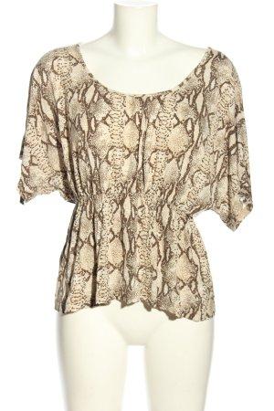 H&M Print-Shirt creme-braun Animalmuster Casual-Look