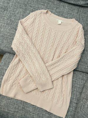H&M Pullover rosa hellrosa wie neu Oberteil Gr. L Gr. 40 Zopfmuster