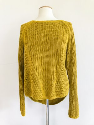 H&M Pullover, Strickpullover, Rundhals, Langarm,senfgrün, Gr. 38 / M