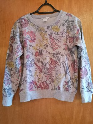 H&M Pullover, Sweatshirt, Grau, Blumenmuster, Größe S