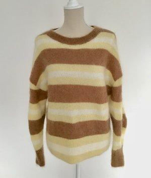 H&M Pullover Wolle S 38 60 % Mohair/Wolle/Tierhaar beige weiß braun gelb