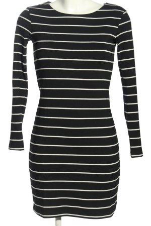 H&M Pulloverkleid schwarz-weiß Streifenmuster Casual-Look