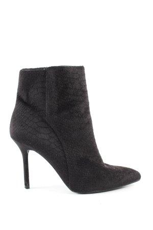 H&M Reißverschluss-Stiefeletten schwarz Animalmuster Business-Look