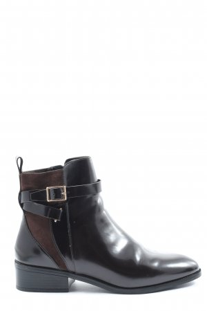 H&M Reißverschluss-Stiefeletten schwarz-braun Business-Look