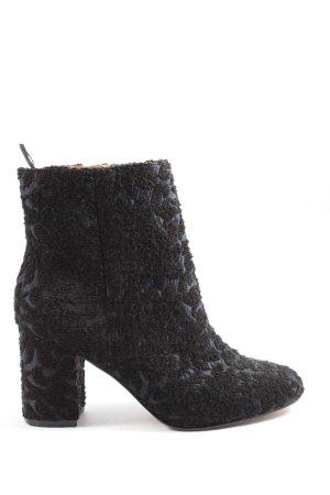 H&M Reißverschluss-Stiefeletten schwarz-blau abstraktes Muster Casual-Look