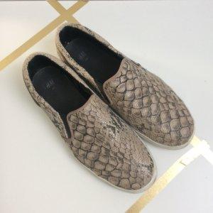 H&M Reptil Slipper Sneakers beige weiß 40 lässige Schlupfsneaker Schuhe