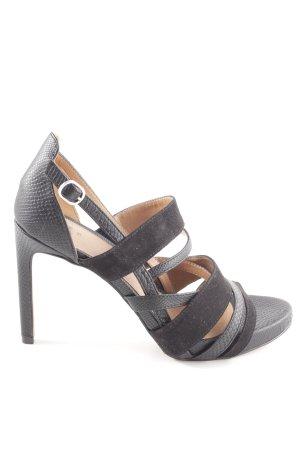 H&M Riemchen-Sandaletten schwarz-hellgrau Animalmuster extravaganter Stil