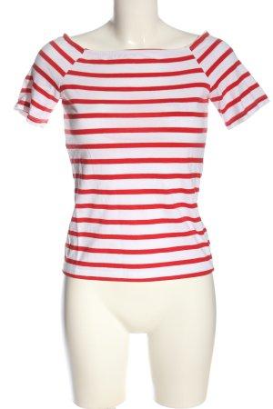 H&M Ringelshirt weiß-rot Streifenmuster Casual-Look