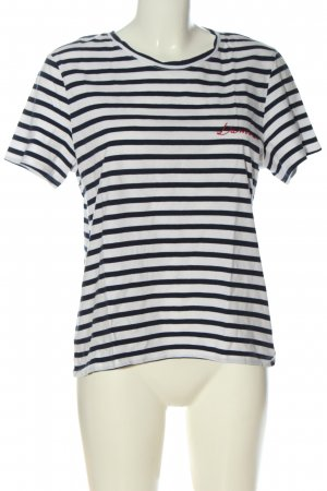 H&M Stripe Shirt black-white embroidered lettering casual look