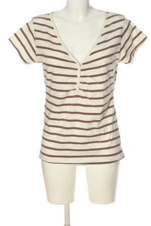 H&M Camisa de rayas blanco puro-marrón look casual
