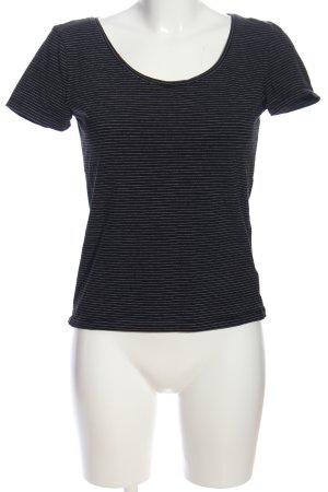 H&M Ringelshirt schwarz-weiß Allover-Druck Casual-Look