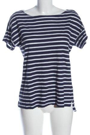H&M T-shirt rayé bleu-blanc imprimé allover style décontracté
