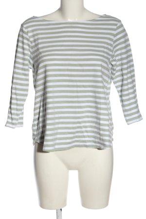 H&M T-shirt rayé blanc-kaki motif rayé style décontracté