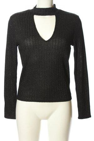 H&M Prążkowana koszulka czarny Melanżowy W stylu casual