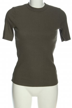 H&M Ribbed Shirt brown striped pattern casual look