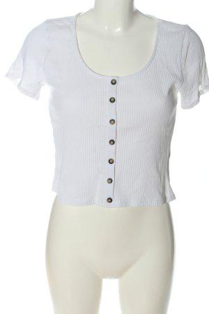 H&M Prążkowana koszulka biały W stylu casual