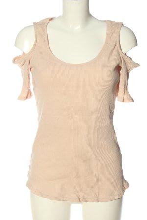 H&M Rippshirt nude Streifenmuster Casual-Look