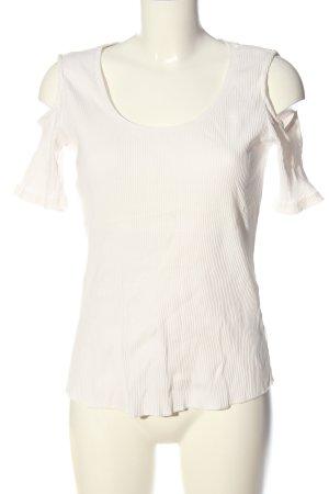 H&M Rippshirt weiß Streifenmuster Casual-Look