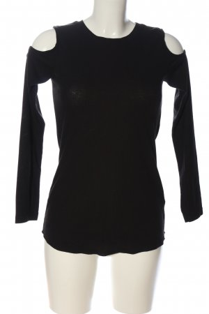 H&M Rippshirt schwarz Streifenmuster Casual-Look