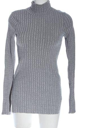 H&M Chemise côtelée gris clair motif rayé style décontracté