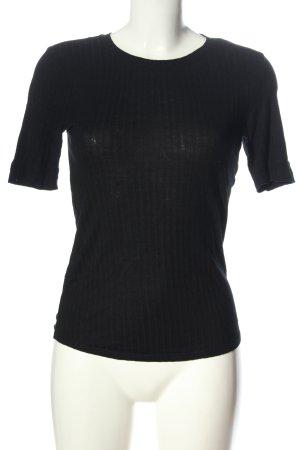 H&M Rippshirt schwarz Streifenmuster Elegant