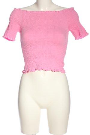 H&M Camisa acanalada rosa look casual