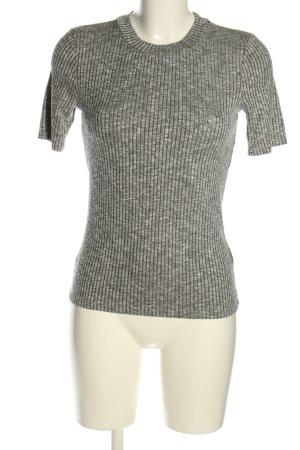 H&M Geribd shirt lichtgrijs gestippeld casual uitstraling