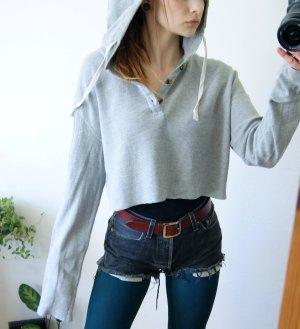 H&M Rippstrick Kapuzensweat mausgrau, cropped Shirt oversized, casual blogger