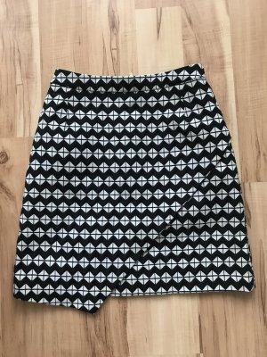 H&M Asymetryczna spódniczka czarny-biały