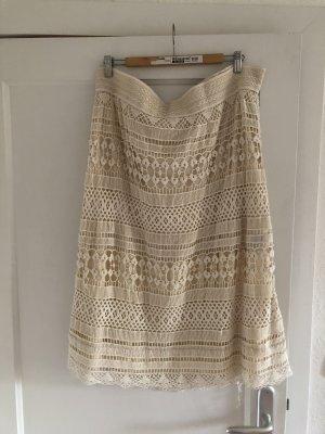 H&M Koronkowa spódnica w kolorze białej wełny-kremowy