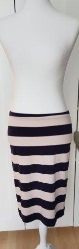 H&M Gebreide rok licht beige-donkerblauw