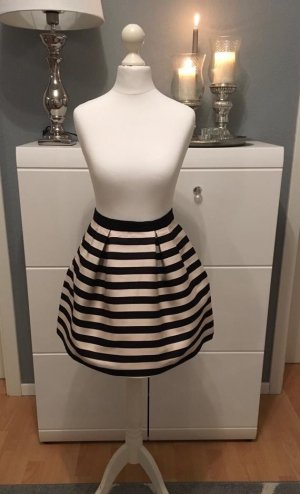 H&M Falda globo negro-crema