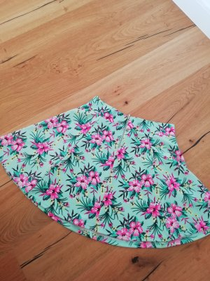 H&M Plaid Skirt neon pink-turquoise