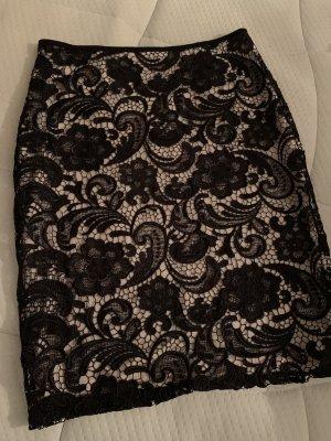 H&M Falda de encaje negro-crema