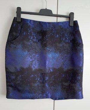 H&M Rock Stiftrock schwarz blau glänzend 42 Neu