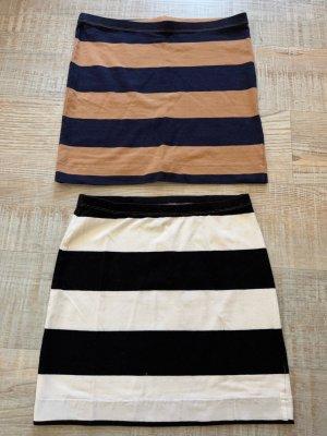 H&M Röcke Größe XS S 34 36 gestreift Schwarz Weiß Blau Beige