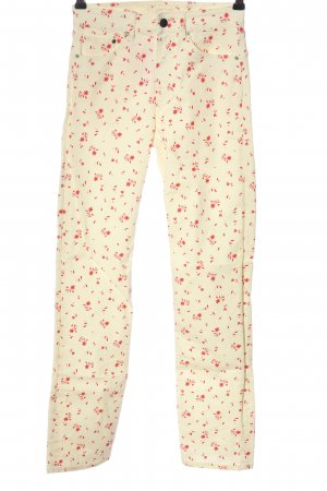 H&M Röhrenjeans creme-rot Allover-Druck Casual-Look