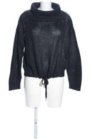 H&M Jersey de cuello alto negro punto trenzado look casual