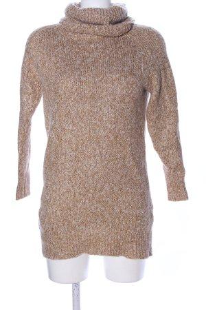 H&M Jersey de cuello alto marrón-blanco puro moteado look casual
