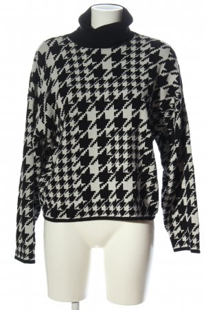 H&M Jersey de cuello alto negro-blanco look casual