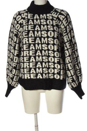 H&M Rollkragenpullover schwarz-weiß Schriftzug gedruckt Casual-Look