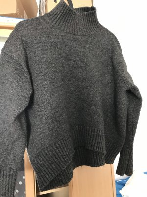 H&M Jersey de cuello alto gris oscuro-gris antracita