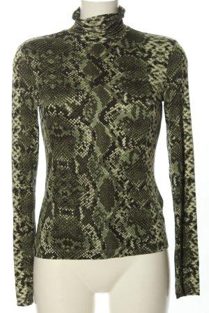 H&M Camisa de cuello de tortuga caqui-negro look casual