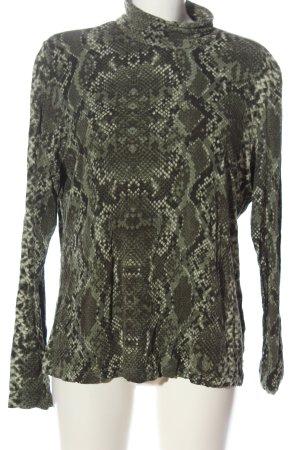 H&M Turtleneck Shirt khaki allover print extravagant style