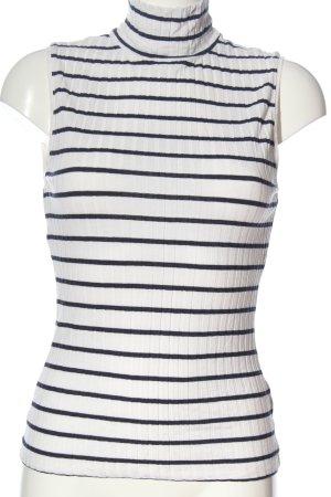 H&M Rollkragentop weiß-schwarz Streifenmuster Casual-Look