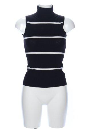 H&M Top con colletto arrotolato nero-bianco motivo a righe stile casual