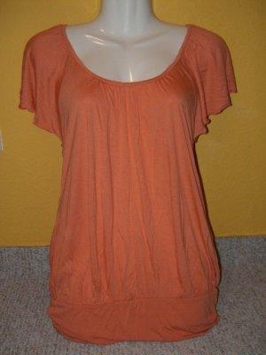 H&M, romantische empire Tunika, Coral Orange kurzarm, Gr. M 38