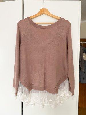 H&M - rose-farbener Pullover mit weißen Spitzeinsätzen