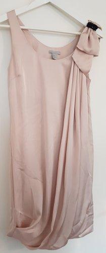 H&M rosé-farbenes Cocktailkleid mit Zierschleife & Raffung, Größe 32